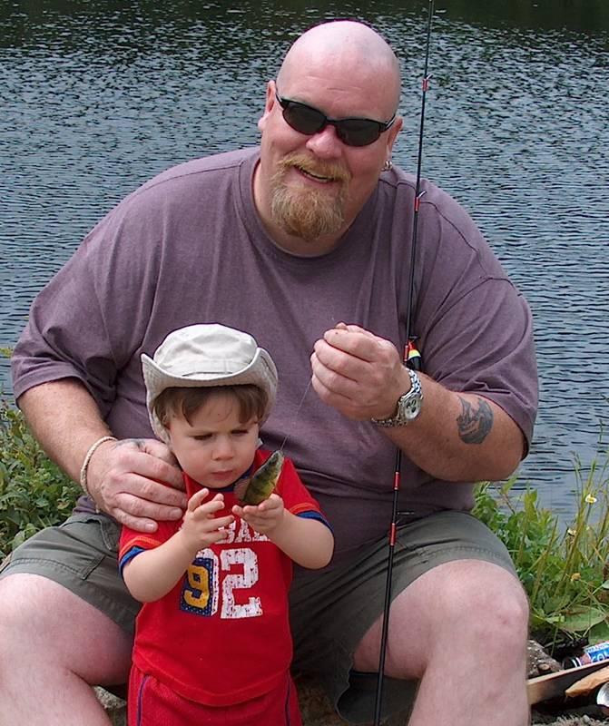 My boy's first fish