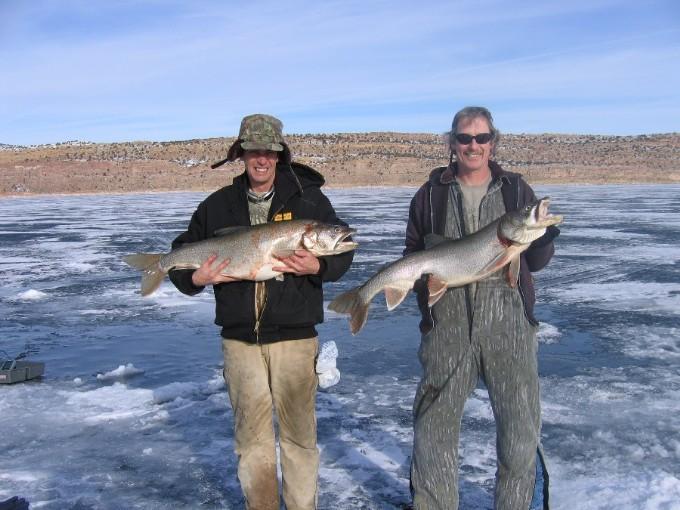 Double hookup ice fishing lakers